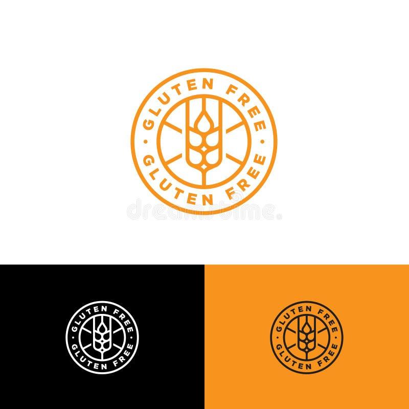 Fri vektorsymbol f?r gluten Grov spikkorset ut på runt emblem INGEN gluten royaltyfri illustrationer