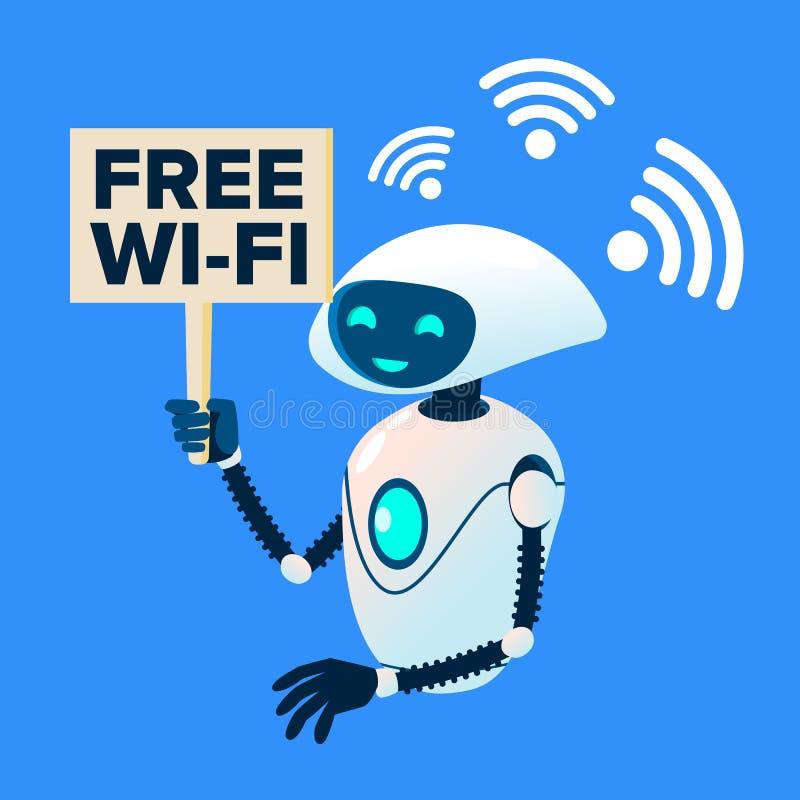 Fri Wi-Fi zon, robot som fördelar vektorn Wi-Fi isolerad knapphandillustration skjuta s-startkvinnan royaltyfri illustrationer