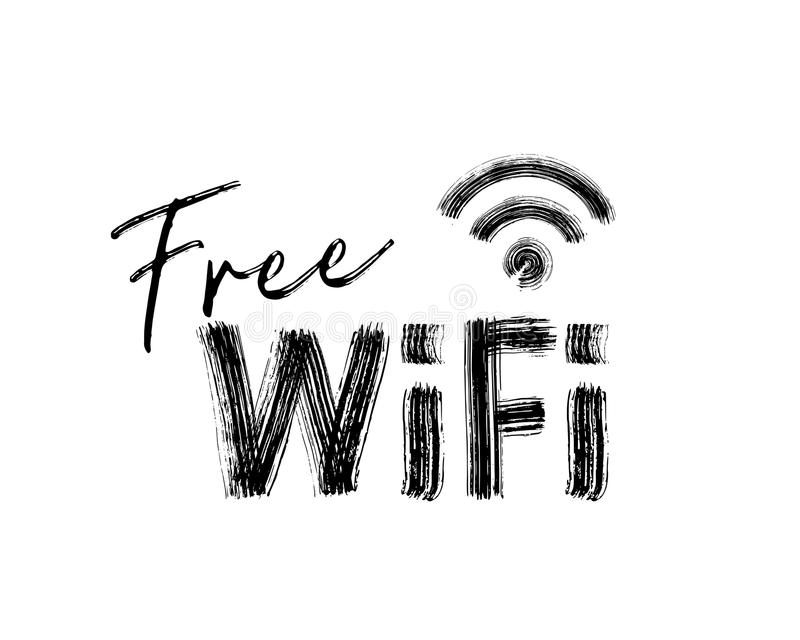 Fri WiFi symbol Dragen text för svart hand på vit bakgrund royaltyfri illustrationer