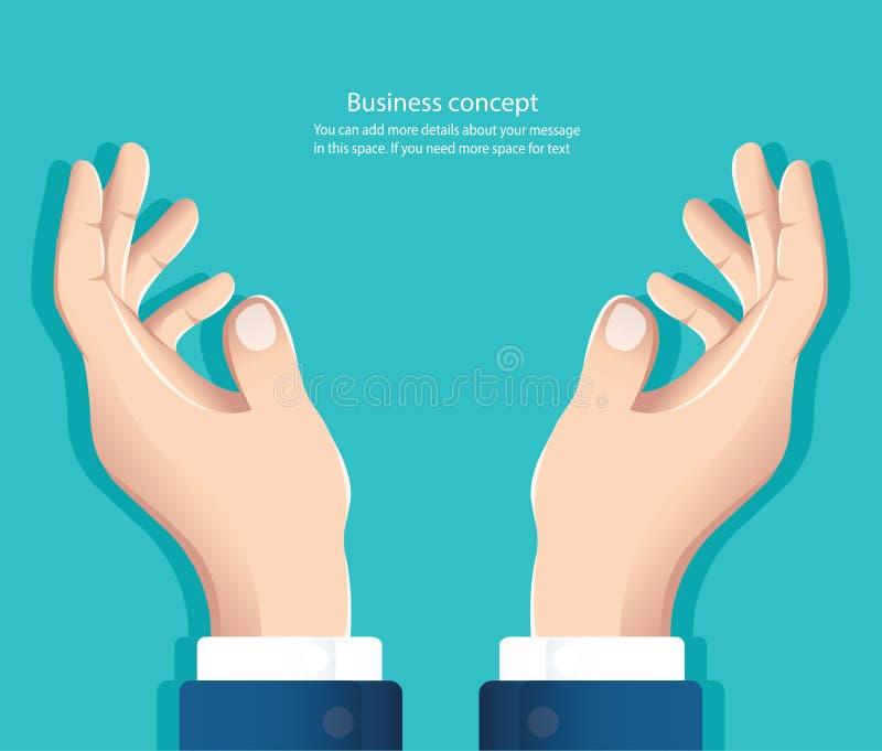 Fria händer hand som rymmer något vektorillustration eps10 vektor illustrationer