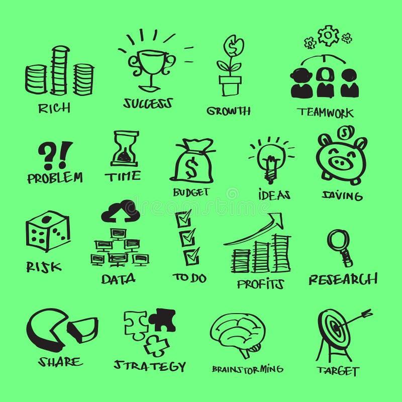 Fria händer Scribbing för plana symboler för affär fastställd & klottrastil stock illustrationer