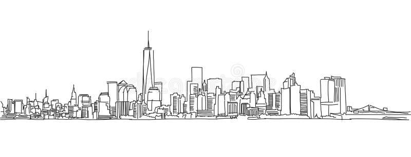 Fria händer skissar av New York City horisont Vektorn klottrar royaltyfri illustrationer