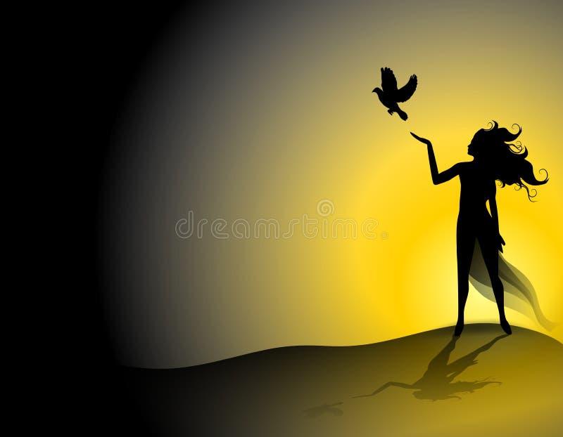 fria händerset för 2 fågel royaltyfri illustrationer