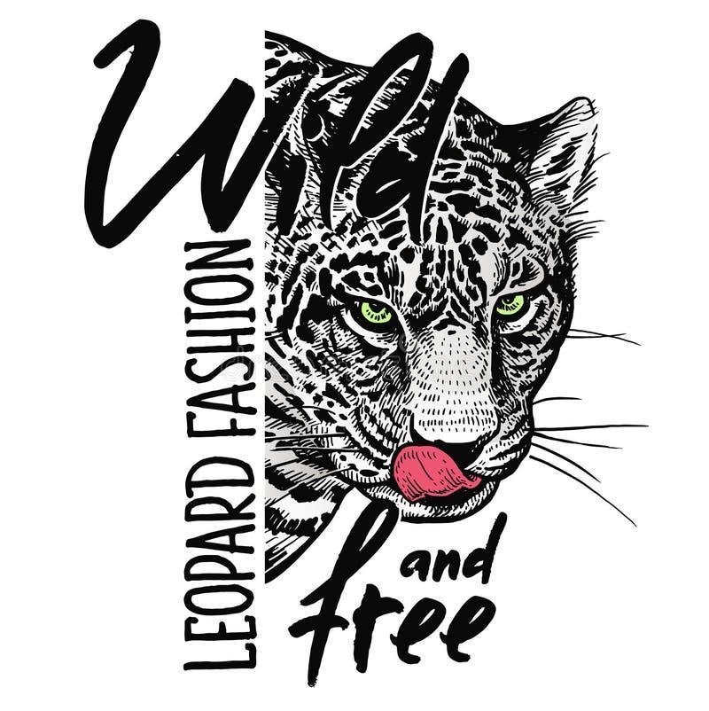 Fria leopardnärbild och inskrift 'som är lösa och ', Id?rikt akvarium med lilla goldfis royaltyfri illustrationer