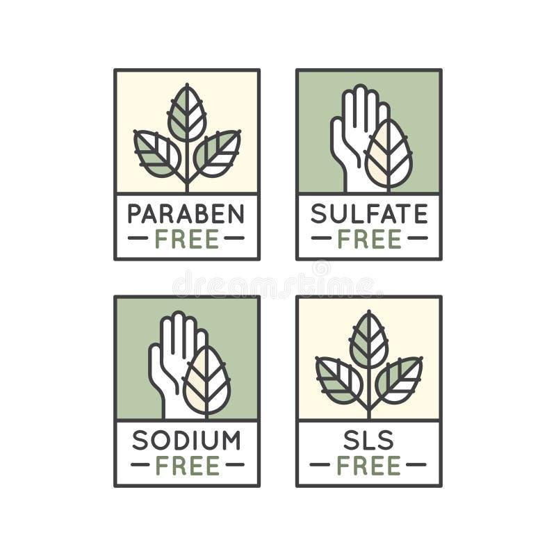 Fria organiska produktklistermärkear stock illustrationer