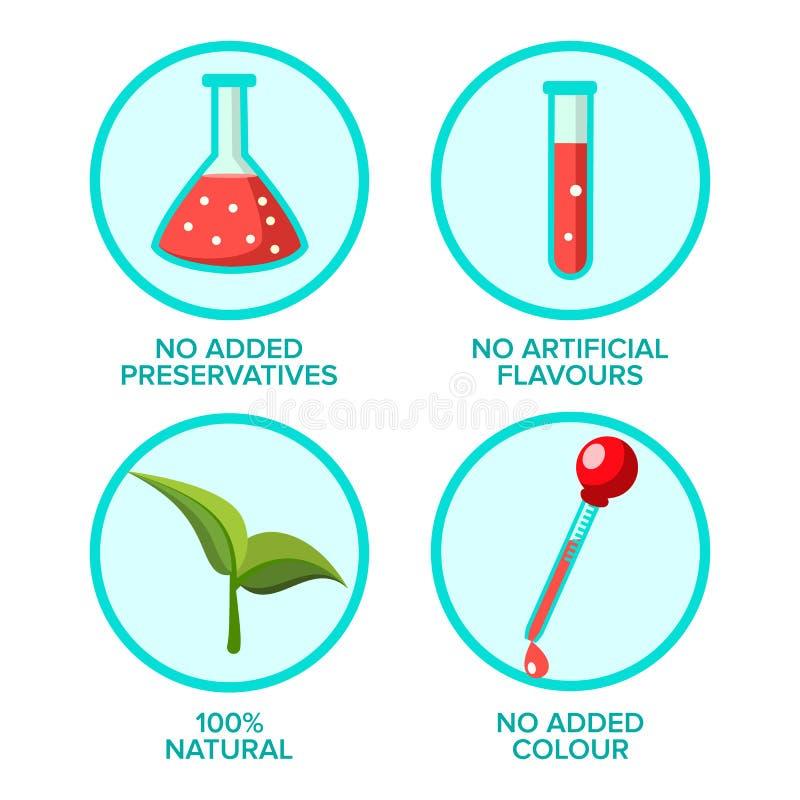 Fria Preservatives, uppsättning för naturproduktvektorklistermärkear royaltyfri illustrationer
