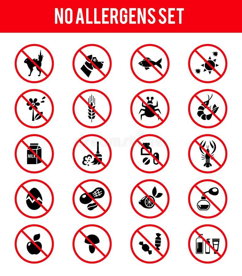 Fria produktsymboler för allergen royaltyfri illustrationer