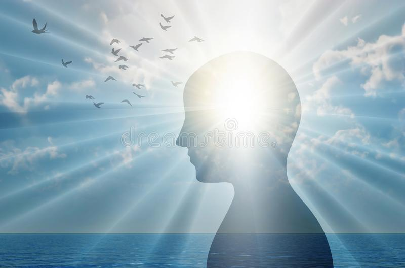 Fria tankar, närma dig, positiva tankar och goda avsikter, hjärnkraftsbegrepp