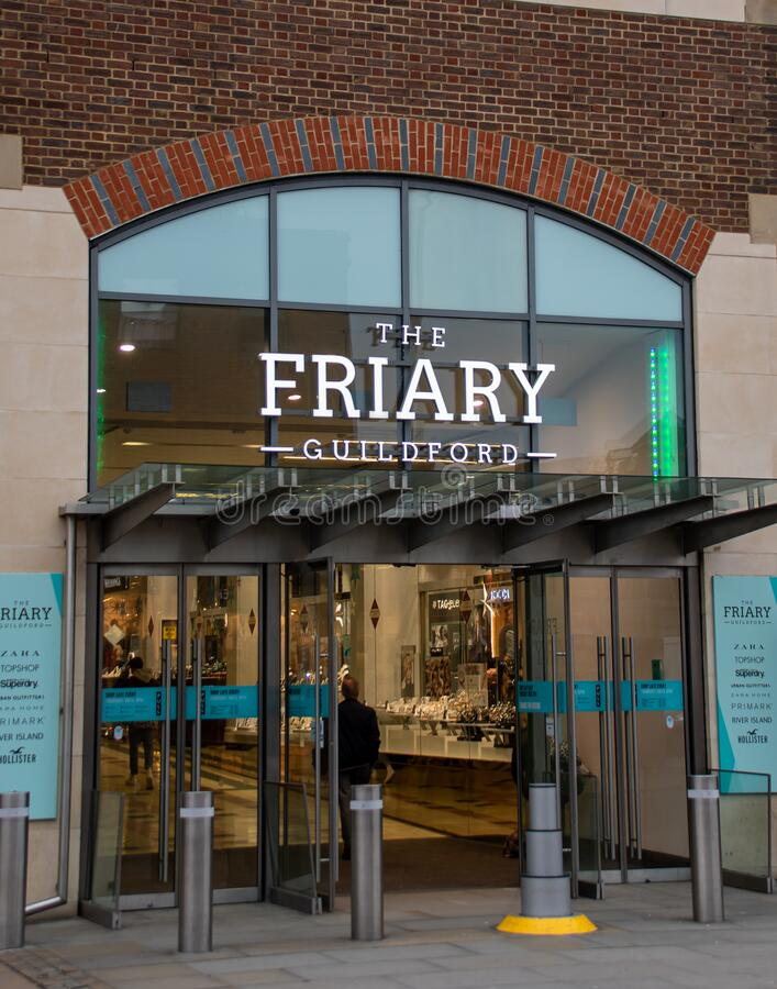 The Friary shopping Centre Guildford. Guildford, United Kingdom - November 06 2019:  Entrance to the Friary shopping Centre in North Street royalty free stock photo
