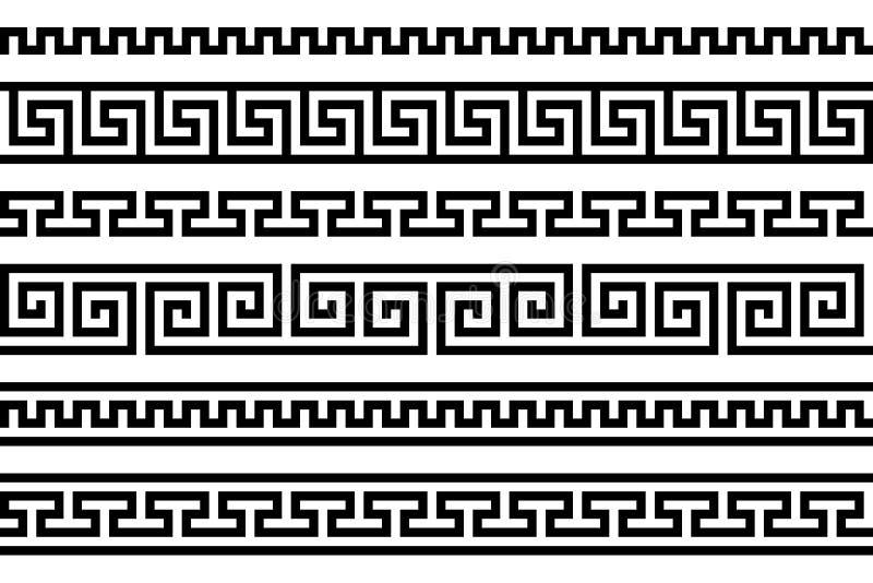 Fricção grega motivo repetido meander Vector o teste padrão sem emenda Fundo preto e branco simples Formas geométricas pintura de ilustração royalty free