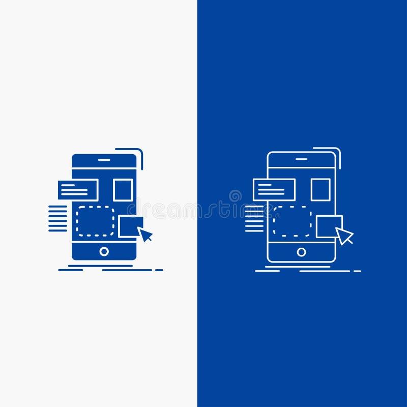 fricción, móvil, diseño, ui, botón de la web de la línea del ux y del Glyph en la bandera vertical del color azul para UI y UX, p ilustración del vector