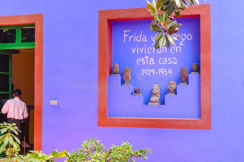 Frida Calho住处Azul蓝色议院  库存照片