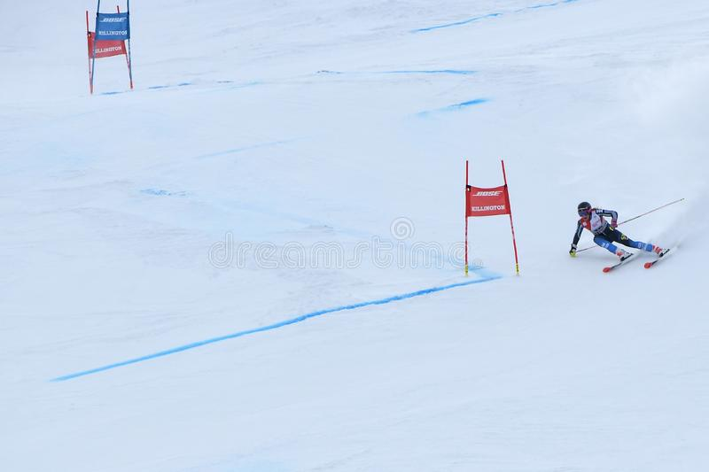 Frida Hansdotter of Sweden competes in the first run of the Giant Slalom. KILLINGTON, VERMONT - NOVEMBER 24: Frida Hansdotter of Sweden competes in the first run royalty free stock image