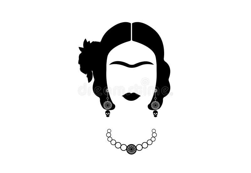 Frida Kahlo, νέα όμορφη μεξικάνικη γυναίκα με ένα παραδοσιακό hairstyle διανυσματική απεικόνιση