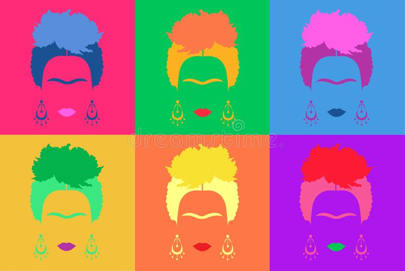 Frida Kahlo background Colored Vector Illustration Pop Art Style Andy Warhol.  vector illustration