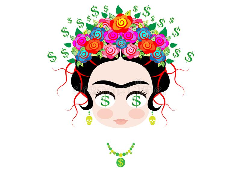 Frida kahlo cartoon, Emoji baby Frida Dollar Money Emoticon portrait with crown of colorful flowers, vector isolated stock illustration