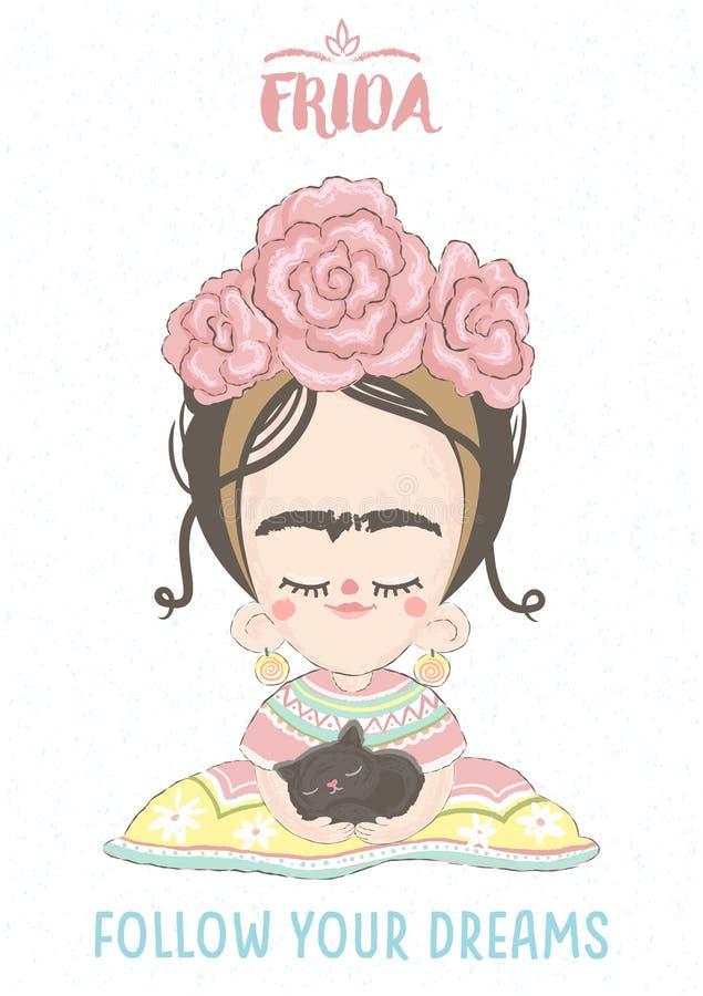 Frida Kahlo stock de ilustración