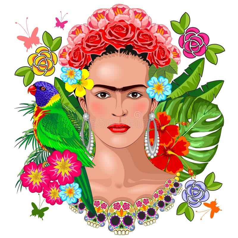 Frida Kahlo Floral Exotic Portrait on White Vector Illustration royalty free illustration