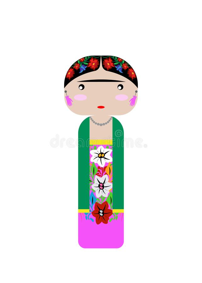 Frida Kahlo Kokeshi Doll , vector illustration isolated stock illustration