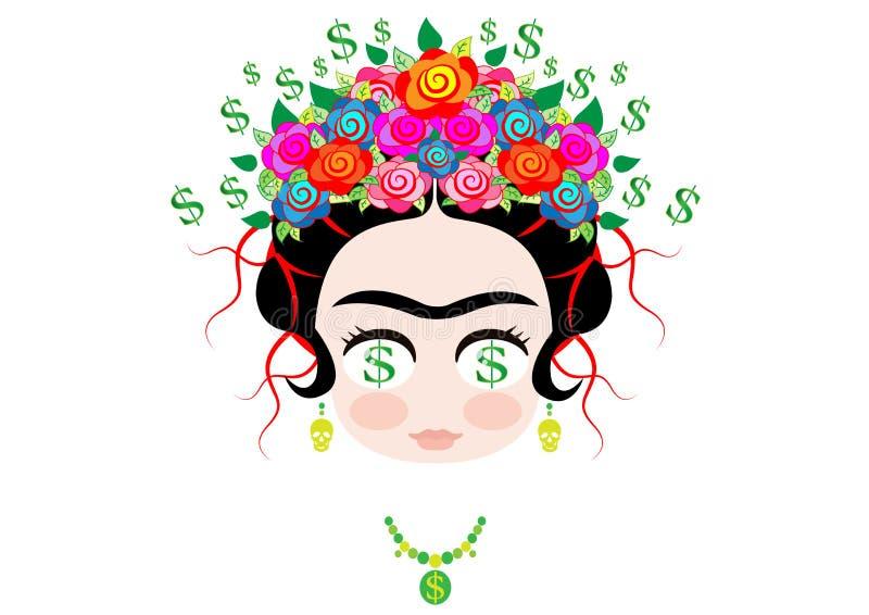 Frida kahlo kreskówka, Emoji dziecka Frida pieniądze Emoticon Dolarowy portret z koroną kolorowi kwiaty, wektor odizolowywający ilustracji
