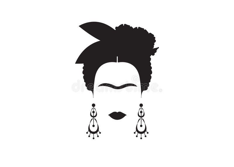 Frida Kahlo Minimalist Portrait With Earrings And Flowers