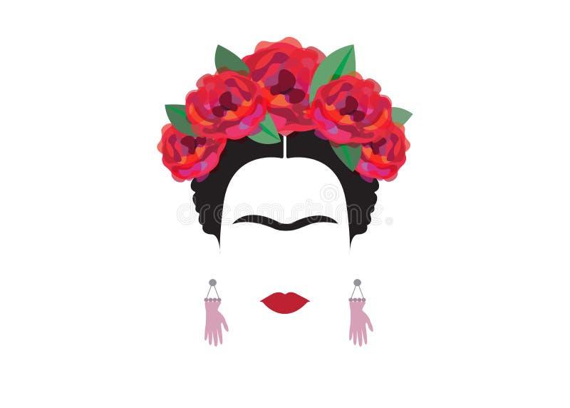 Frida Kahlo minimalist portrait with earrings hands stock illustration