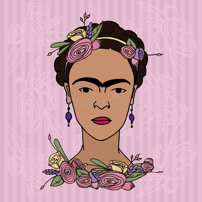 Frida Kahlo Portrait ilustração royalty free