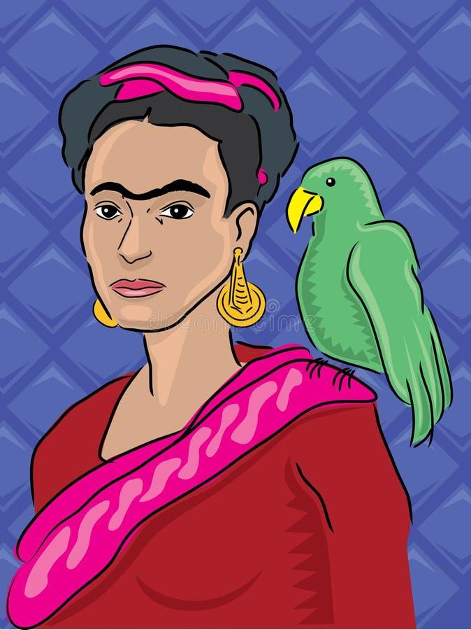 Frida Kahlo Portrait stock illustration