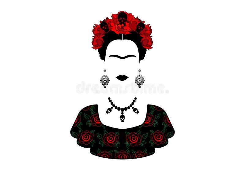 Frida Kahlo, portrait la jeune belle femme mexicaine avec une coiffure traditionnelle illustration libre de droits