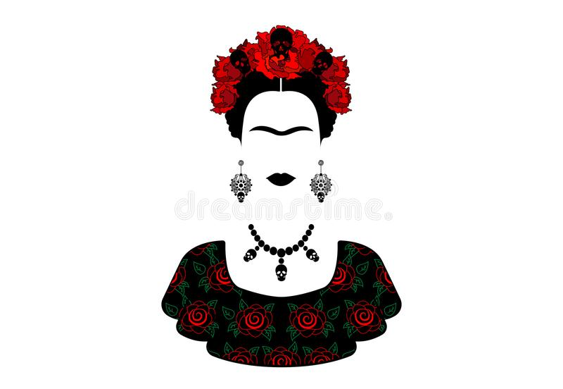 Frida Kahlo, portrait the young beautiful mexican woman with a traditional hairstyle. royalty free illustration