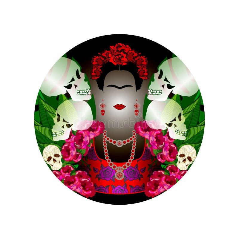 Frida Kahlo-portret met schedels Dia DE Los Muertos Dag van de Doden Vectorportret en bloemen zwarte donkere achtergrond stock illustratie