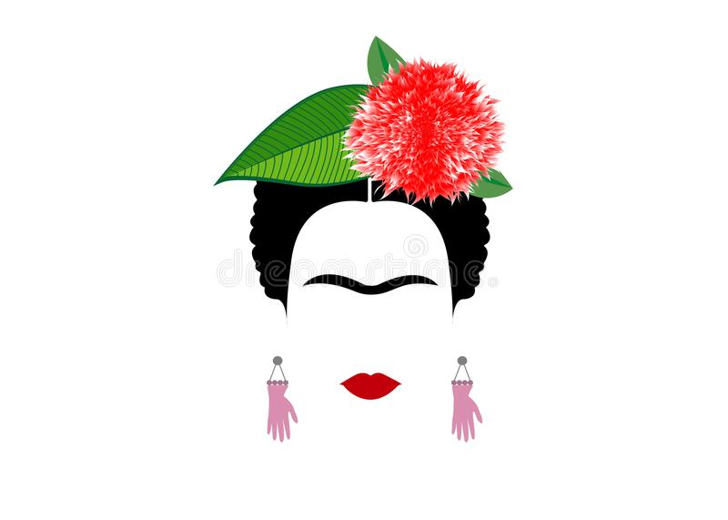 Frida Kahlo stående, härlig mexikan- eller spanjorkvinna med en traditionell frisyr, stock illustrationer