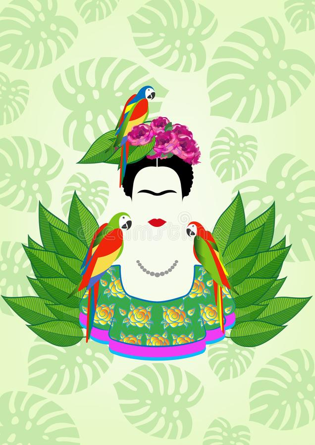 Free Frida Kahlo Vector Portrait, Graphic Interpretation With Parrots And Exotic Floral In The Green Background Stock Photography - 110244702
