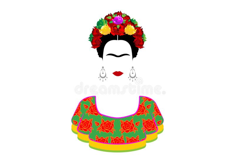 Frida Kahlo vector portrait , young beautiful Mexican woman with a traditional hairstyle. Mexican crafts earrings and red flowers, stock illustration