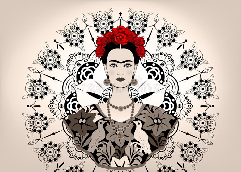 Frida Kahlo vector portrait , young beautiful mexican woman with a traditional hairstyle, Mexican crafts jewelry and dress. Vector isolated or mandala stock illustration