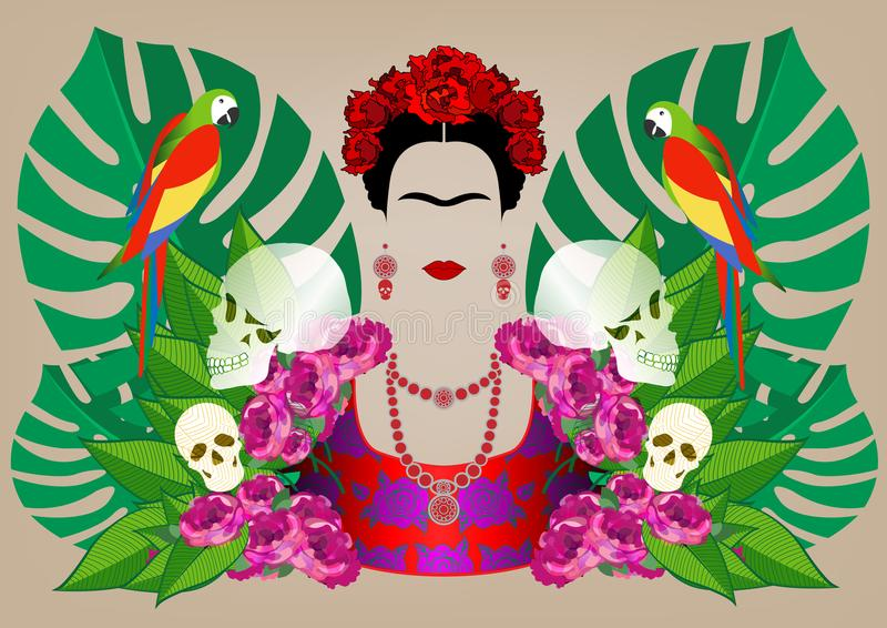Frida Kahlo vector portrait , young beautiful mexican woman with a traditional hairstyle, Mexican crafts jewelry and dress. Frida Kahlo vector portrait and stock illustration