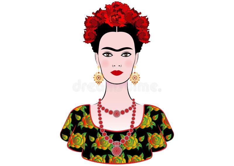 Frida Kahlo vektorstående, grafisk tolkning, med mexicanska etniska smycken royaltyfri illustrationer