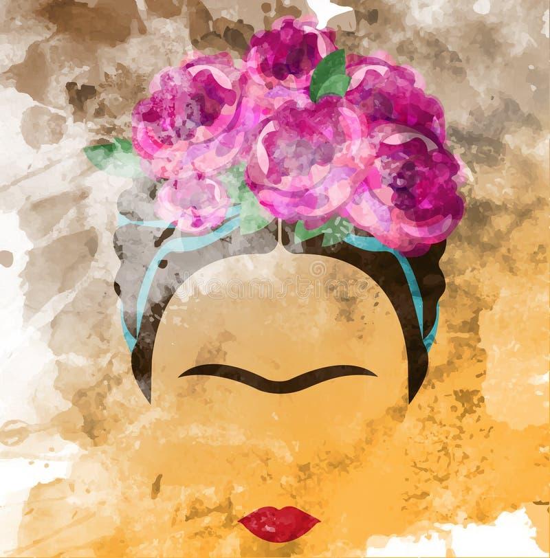 Frida Kahlo wektorowy portret, akwarela styl, ręka rysunek na ścianie royalty ilustracja