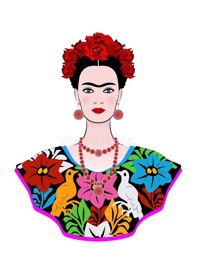 Frida Kahlo wektorowy portret, młoda piękna meksykańska kobieta z tradycyjną fryzurą, meksykanin wykonuje ręcznie biżuterię i suk royalty ilustracja