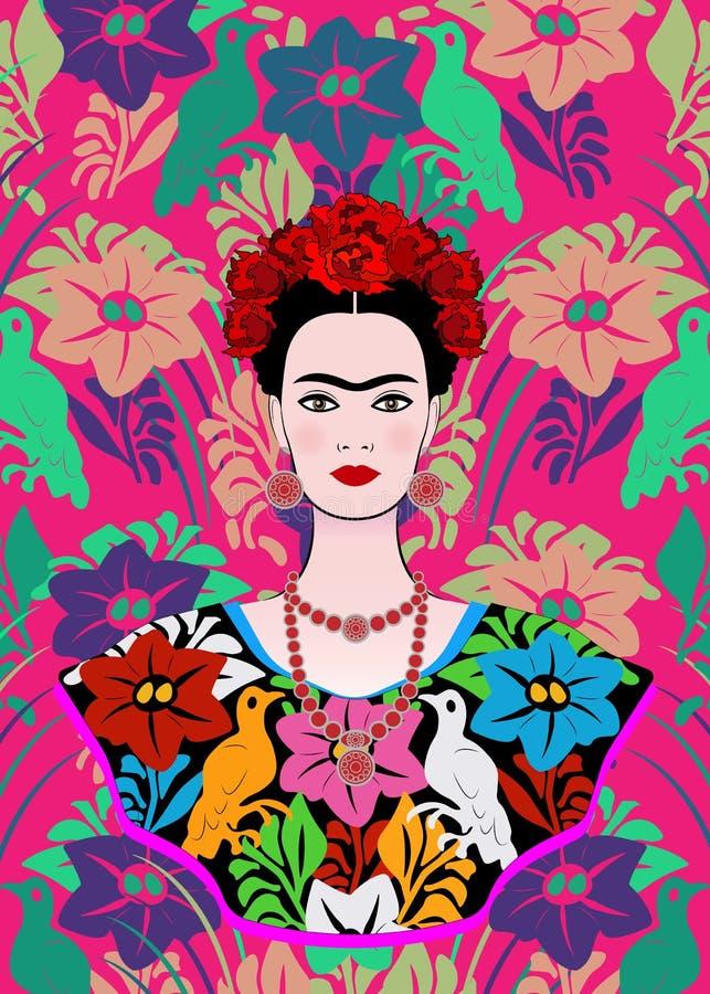 Frida Kahlo wektorowy portret, młoda piękna meksykańska kobieta z tradycyjną fryzurą, meksykanin wykonuje ręcznie biżuterię i suk ilustracja wektor
