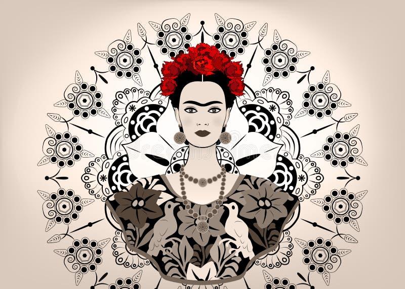 Frida Kahlo wektorowy portret, młoda piękna meksykańska kobieta z tradycyjną fryzurą, meksykanin wykonuje ręcznie biżuterię i suk ilustracji