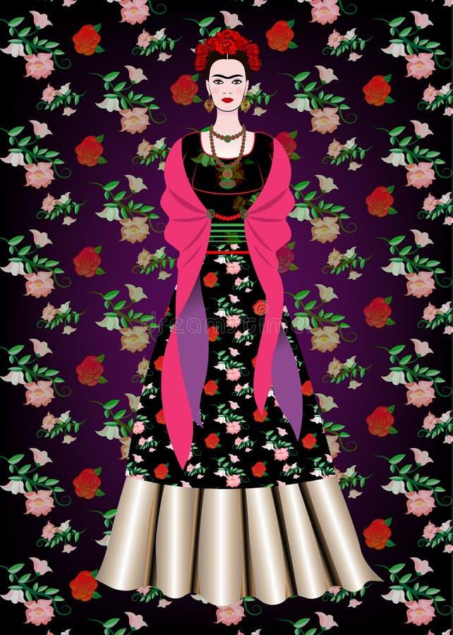 Frida Kahlo wektorowy portret, meksykańska kobieta z tradycyjną fryzurą Meksykanin wykonuje ręcznie biżuterii i czerwieni kwiaty  royalty ilustracja