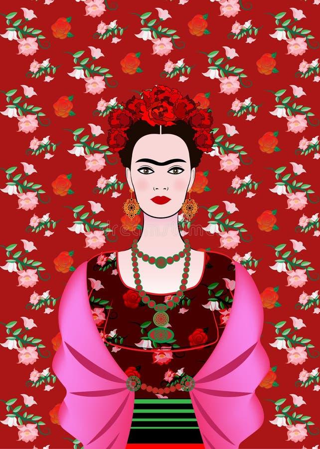 Frida Kahlo wektorowy portret, meksykańska kobieta z tradycyjną fryzurą Meksykanin wykonuje ręcznie biżuterii i czerwieni kwiaty  ilustracji