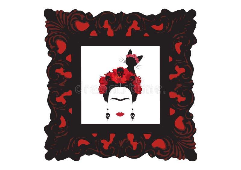 Frida Kahlo wektorowy portret z czarnym kotem, portret Meksykańskiej kobiety minimalistyczna sylwetka z czaszka kolczykami, stara royalty ilustracja