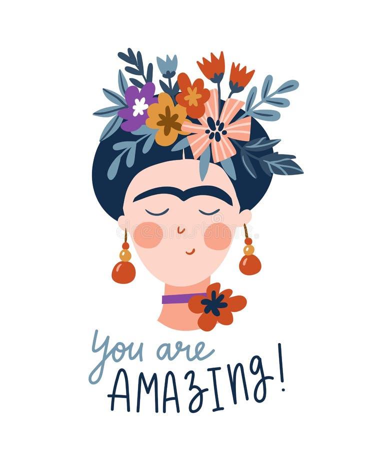 Frida Khalo Śliczny i śmieszny żeński portret Dziewczyny kartka z pozdrowieniami Wektorowy druku projekt z tekstem - Ty jesteś za royalty ilustracja
