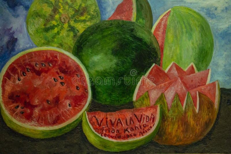Frida Khalo - het schilderen vida van vivala royalty-vrije stock afbeelding