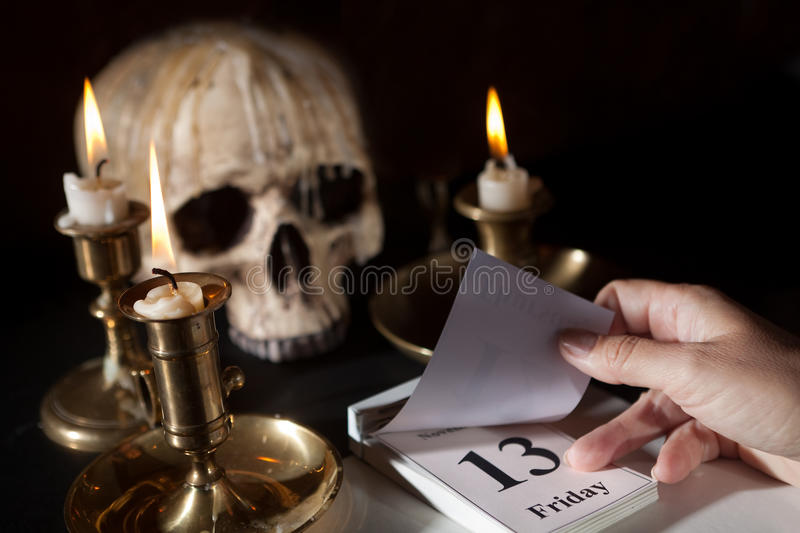 Friday 13th on a calendar stock images