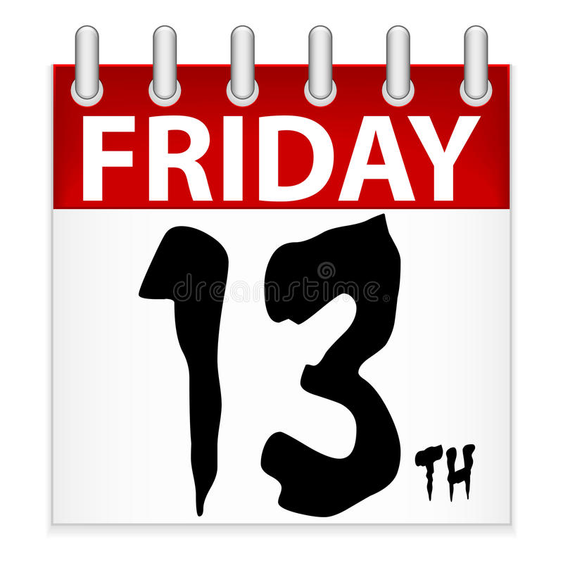 Friday 13th Calendar Icon. An illustration of a calendar icon for the unluckiest day of the year, Friday the 13th
