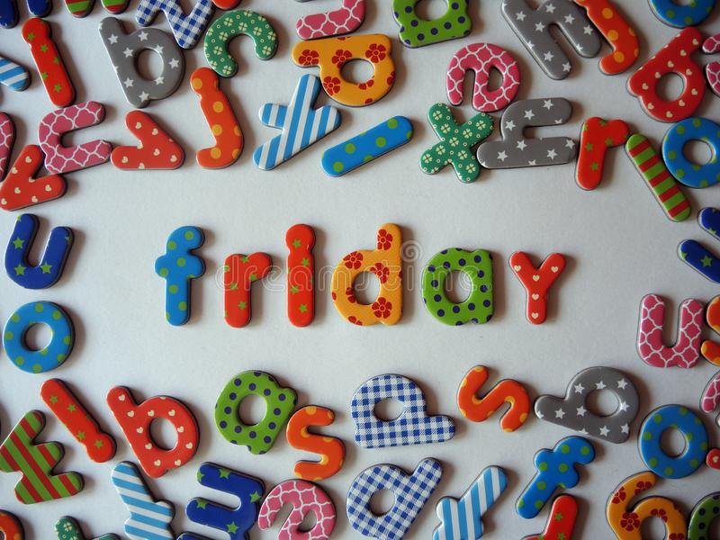 Friday banner with colorful lower case letters stock image