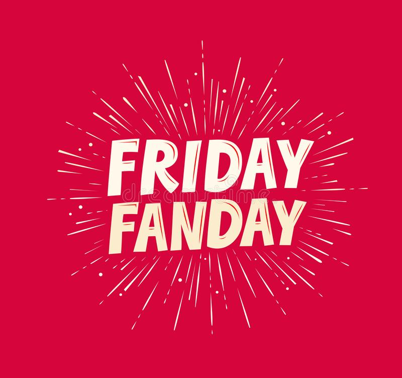 Free Friday Funday Banner. Typographic Design Vector Illustration Royalty Free Stock Photography - 165143397